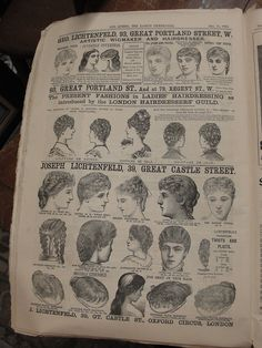 December 1886, The Queen, The Lady's Newspaper featuring lady's coiffures and and toupees (hair pieces)