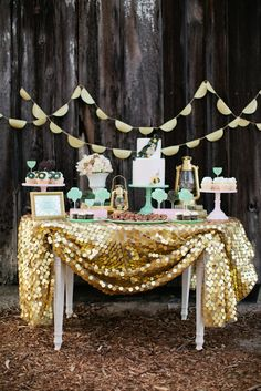 Girl Scout bridal shower party >> Love the gold sequin table cloth. @Tasha Trujillo click the link, the colors are so pretty