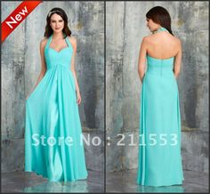 Find More Bridesmaid Dresses Information about Gorgeous Designer Turquoise Halter Chiffon A line Long Bridesmaid Dresses,High Quality bridesmaid shorts,China gorgeous elegant evening dresses Suppliers, Cheap long lilac bridesmaid dress from Rose Life Wedding on Aliexpress.com