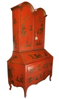 ANTIQUE ITALIAN HAND-PAINTED FRENCH STYL RED CHINOISERIE SECRETARY DESK BOOKCASE #LouisXIIIXIVXVXVI