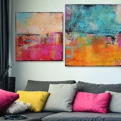 "Titled ""Urban Poetry"" by Erin Ashley, these incredible matching abstract canvas prints brighten up the living room. Abstract art prints offset rooms with existing contemporary or traditional elements, and to add a visually stimulating focus to the room."