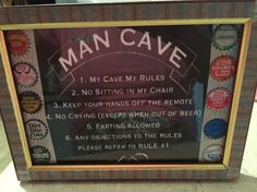 Man cave sign from old photo frame