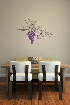 Decals That Dazzle - Hanging Grape Vine Wall Decal $15.00 & Grapes Wall Decals Bunch of Grapes Kitchen Wall Decor Floral ...