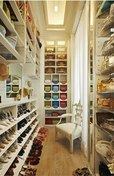 A dream closet for shoes, purses, hats, shirts.....