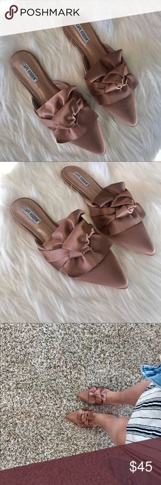 Satin Dusty Ross Mule Flats Super cute mules I purchased on Posh! Reposhing because while they're super cute. I feel I won't wear  😭 never worn, brand new! Stiching is coming up ever so slightly on one of the heels. (See first photo) boutique Shoes Espadrilles