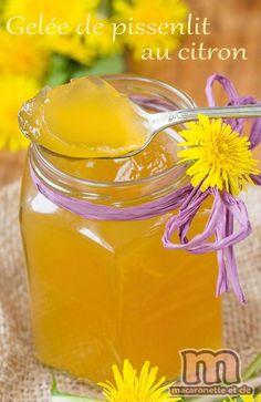 Cramaillote, miel de pissenlit... enfin ici une gelée de pissenlit au citron - Macaronette et cie Hamburger Recipes, Agar, Sweet Recipes, Recipies, Favorite Recipes, Homemade, Cooking, Desserts, Food