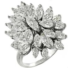 Estate 3.60ct Marquise & Pear Shape Diamond Cluster 14k White Gold Cocktail Ring