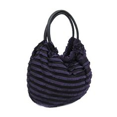 """Hbg 100003 Ruffled Layer Handbag Purple by Arif's Collection. $1.00. handbag. Size: 17"""" W x 19"""" H x 5.5"""" Deep Color: Purple, black Style: Zipper top handbag. Exterior is layered and ruffled, and comes with two leather like handles. Interior is made of a nylon like material, and has one zipper pocket, and two open pockets."""