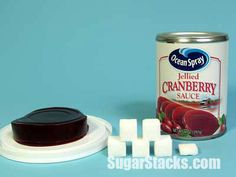 Ocean Spray Jellied Cranberry Sauce cup serving Sugars, total: Calories, total: 110 Calories from sugar: 84 How Much Sugar, Cranberry Sauce, Jelly, Thanksgiving, Ocean, Dinner, Healthy, Places, Food