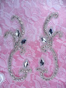 """0509 Appliques Purple Gold Mirror Pair Sequin Beaded DIY Sewing Patch Motifs 10/"""""""