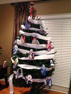 Elf on the Shelf idea for boys.he decorated the tree with underwear and toilet paper