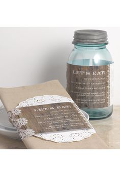 Barnwood and Lace Wedding Menu by David's Bridal | Follow us and start pinning pretty paper options - from invitations and save the dates to programs and table numbers - for a chance to win $1,000 to InvitationsbyDavidsBridal.com. Enter here: http://sweeps.piqora.com/rsvpready
