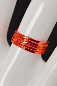 Abby's Life: Super Thin Orange Silver Stackable Ring(s), Orange Ring, Stack. Silver Stacking Rings, Stackable Rings, Orange Band, Orange Orange, Measure Ring Size, Ceramic Coating, Silver Roses, Jewel Tones, Beautiful Rings