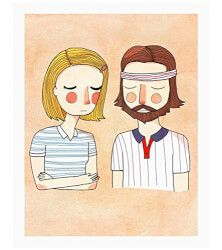 The Royal Tenenbaums Print   It's not so surprising this movie became a cult classic, but this print makes for an unexpected, oddball gift. It's also kinda perfect — since you guys talk about your eccentric family.