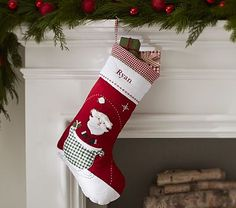 Santa Red Quilted Stocking #pbkids
