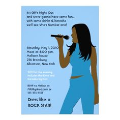 KARAOKE Singing Party Girls Night Out Birthday Personalized Announcements from Zazzle.com