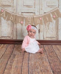 Shabby Chic Birthday Baby Shower Burlap Name Banner by LydiaJeans