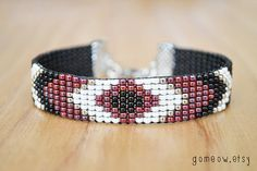 Geometric Loom Beaded Bracelet Beadwoven with Adjustable by Gomeow, $22.95