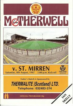 Motherwell 2 St Mirren 1 in Aug 1987 at Fir Park. Programme cover #SPL