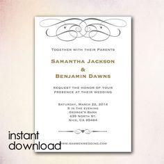 "diy wedding invitation template -editable mint green ""antique lace, Wedding invitations"