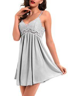 033ffabd398 Women Lace Lingerie Sleepwear Chemises V-Neck Full Slip Babydoll Nightgown  Dress Gray XXL