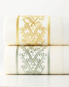Queen Byzantine 300TC Sheet Set, Jade (Grn)/Ivory - Neiman Marcus