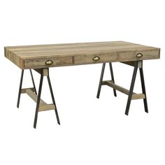 Showcasing an industrial-chic design and natural finish, this pine wood desk anchors your home office or study in cosmopolitan style.  ...