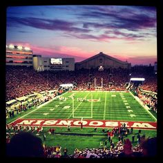 Sun setting on Camp Randall Stadium, University of Wisconsin, Madison. Go Badgers!