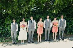 Coral dresses, grey suits, striped ties