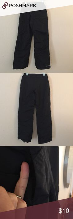 Columbia Omni-shield Ski/Board Pants Well loved lots of use left though. Tiny hole on knee. Loose seam on side needs stitching(size of my pinky. A little black thread and your tweenager is ready for a day in the snow!! Columbia Bottoms