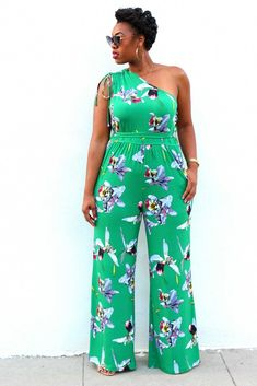 5393b2fef7da All Floral  Green Asymmetric Jumpsuit with Tapered Waist and Wide Leg