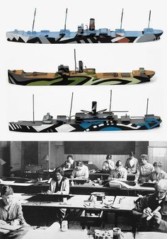 Original ship models painted to test dazzle camouflage schemes (© IWM). Bottom: Dazzle Section at work in Burlington House in
