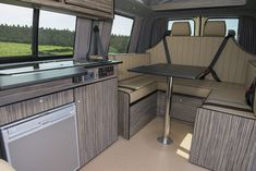 New crash tested 4 sweater seat/ bed all in SWB VW Transporter. Campervan Conversions Layout, Vw Transporter Conversions, Vw Transporter Camper, Vw Conversions, Kombi Motorhome, Camper Van Conversion Diy, Vw T5 Interior, Campervan Interior, Campervan Ideas