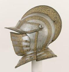 Closed Burgonet ca. 1560 Italian Steel, gold Metropolitan
