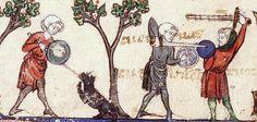 Drei Männer mit Buckler, BUM H 196 Chansonnier de Montpellier, fol. 63v, 1280, Frankreich.