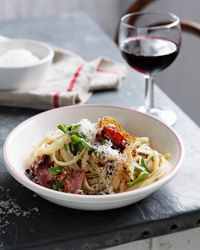 Linguine with Onion, Bacon, and Parmesan | The browned onions lend a ...