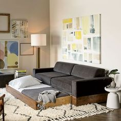 Our three-in-one Emery Sofa is a small space superstar. With removable back cushions covered in a durable, liquid- and stain-resistant upholstery, it converts easily from sofa to daybed to trundle bed—without sacrificing its good looks.