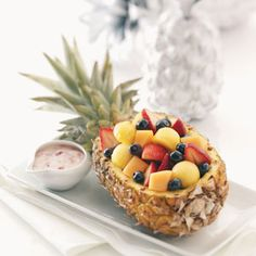 I looked all day for this on pinterest and then I remembered that I actually saw it in a magazine! Grrrr! Fruit salad in a pineapple boat