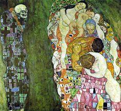 """""""Morte e vita"""", Gustav Klimt, 1916; olio su tela, 178x198 cm; il dipinto appartiene alla Collezione Rudolf Leopold."""