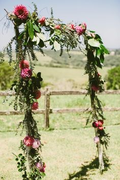 Ceremony Decor / Wildflower Arch. See Real Wedding on The LANE… http://thelane.com/style-guide/real-weddings/bohemian-byron-bay-wedding
