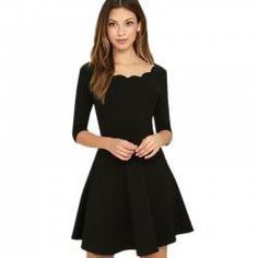 Solid Color Half Sleeved Dress - BLACK