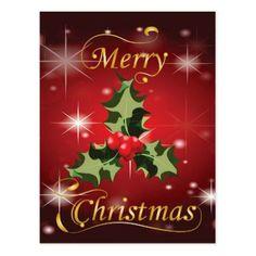 Holly and Berries Christmas Card - merry christmas diy xmas present gift idea family holidays