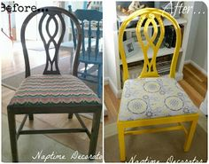Naptime Decorator: Spray Paint + New Fabric = FUN Chair! Painted Chairs, Painted Furniture, Valspar Paint, Upcycled Vintage, Cool Chairs, Yard Sale, Wishbone Chair, Dining Furniture, Diy Projects To Try