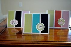 Simple handmade cards. With the right color scheme these totally work as masculine cards.