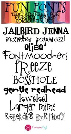 Fun Whimsical Fonts (FREE for Personal and Commercial Use!) - Fonts - Ideas of Fonts - fun and whimsy fonts Cute Fonts, Fancy Fonts, Pretty Fonts, Calligraphy Fonts, Typography Fonts, Typography Design, Calligraphy Alphabet, Islamic Calligraphy, Caligraphy