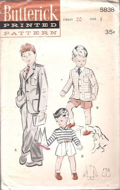"""Vintage 1950's Butterick 5838 Boys' Suit:Short or Long Trousers Sewing Pattern Size 1 Chest 20"""" UNCUT by Recycledelic1 on Etsy"""