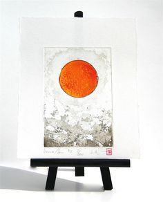 Red Orange Sun Sol Luna Moon   Original Etching by freshandsilly, $30.00 Luna Moon, Printing Press, Paper Size, Orange, The Originals, Pretty, Painting, Color, Painting Art