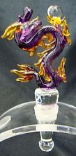 New Hand Blown Glass Purple Yellow-Orange Dragon with Ball Wine Stopper Cork