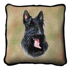 Scottish Terrier Dog Portrait Pillow