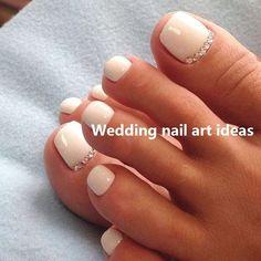 35 Simple Ideas for Wedding Nails Design nailart + Wedding Toe Nails, Wedding Toes, Bride Nails, Wedding Nails Design, Glitter Wedding, Red Wedding, Fall Wedding, Simple Toe Nails, Pretty Toe Nails